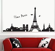 Romantic Eiffel Tower PVC Wall Stickers Wall Art Decals