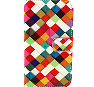 Square  Pattern PU Leather Case with Magnetic Snap and Card Slot for Alcatel One Touch Pop C7