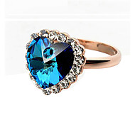 HKTC 18k Rose Gold Plated Aquamarine Heart of Ocean with Crystals Surrounded Jewelry Ring