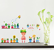 Wall Stickers Wall Decals, Style Potted Robot PVC Wall Stickers
