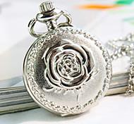 Women's Round Dial Flower Pattern Fashion Quartz Necklace Watch Pocket Watch Cool Watches Unique Watches