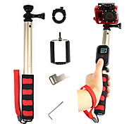 Aluminum Gold Extendable Monopod with Mount Adapter for GoPro and Cell Phone