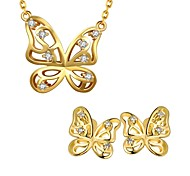 Fashion Women's Gold Plated Butterfly Stud Earring Necklace Jewelry Sets (More Colors)
