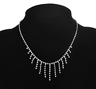 Classic Women Bridal Crystal Bar Necklace
