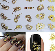 3D Gold  Feather Nail Art Stickers XF6057