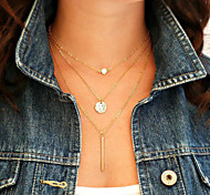 Sequins Metal Bar Short Necklace