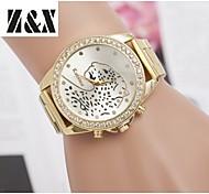 relógio de diamante moda leopardo quartzo correia de aço analógico das mulheres (cores sortidas)