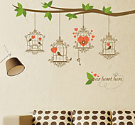 Vintage Heart Birds Key PVC Wall Stickers Wall Art Decals