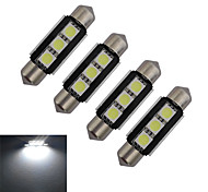 JIAWEN® 4pcs Festoon 39mm 1W 3x5050SMD 60-70LM 6000-6500K Cool White Light LED Car Light (DC 12V)