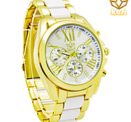 Men's Round Dial Casual Watch Alloy Strap Quartz Watch New Fashion Wrist Watch (Assorted Colors)