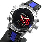 Men's Fashion Water Resistant Round Rubber Band Digital LED Watch (Assorted Colors)