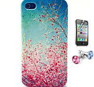 The Cherry Blossom Falls Pattern TPU Soft Case with Anti-dust Plug and Flim for iPhone 4/4S