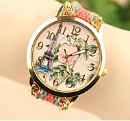 женской моды Эйфелева башня ткачество Южная Корея стиль сетей формата DIY часы