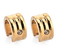 Fashion Men's Women's Punk 18K Gold/Silver Platinum Plated Stainless Steel Metal Stud Earrings Hoop Earrings