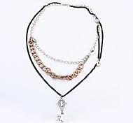 European Style Fashion Multilayer Key Necklace