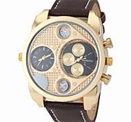 zonas duplas militares dos homens tempo estojo de couro faixa de relógio de pulso de quartzo ouro