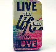 vivir la vida que el amor patrón de cuero de la PU caso de cuerpo completo con soporte y soporte de la tarjeta para la galaxia joven 2