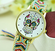 Women's New Fashion Ethnic Style Colorful Skull Woven Bracelet Watch