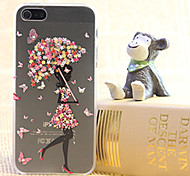 Diamond Girl falda butterful pintura caja de plástico transparente para iPhone5 / 5s