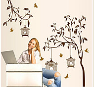 Rural Style Birdcage And Branch PVC Wall Sticker
