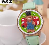 Children's Lovely Little Car Bear Flip Quartz Analog Leather Bracelet Watch(Assorted Colors)