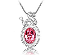 Zodiac Year Dragon Lady's Short Necklace Plated with 18K True Platinum Rose Crystallized Austrian Crystal Stones