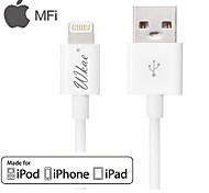wkae® IMF certificada de datos de sincronización USB de 8 pines / cable de carga ronda para el iphone 5 / 5s / 6/6 más / iPad / iPod