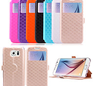 5.1 Inch Window Pattern PU Wallet Leather Case for Samsung GALAXY S6 G9200