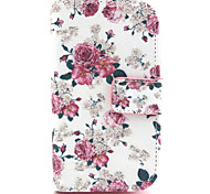Flowers Pattern PU Leather Case with Magnetic Snap and Card Slot for Alcatel One Touch Pop C3