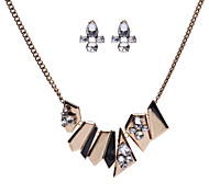 Silver Crystal Jewelry Sets Women Light Green Pendants Charms Statement Chunky Choker Necklaces & Dangle Earrings
