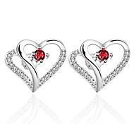 Women's Simple Heart 925 Silver Plated Earrings