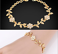 U7® Elegant Bracelets Olive Leaf Design Clear Austrian Rhinestone 18K Gold Plated Fashion Jewelry Gift For Women