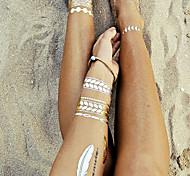 2015 Fashion Leaf Women Gold Flash Tattoo Metallic Temporary Tattoo Jewelry Tattoos Waterproof Golden Tatto Sexy Gift