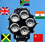ocasional relógio dos homens de quartzo de pulso ajustável de cinco países (cores sortidas)