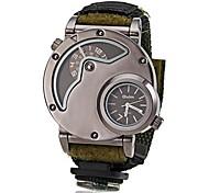 Men's Military Style Dual Time Zones Fabric Band Quartz Wrist Watch