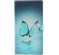 Blue Butterfly Pattern PU Leather Full Body Case with Stand and Card Holder for LG G3