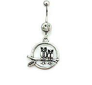 Fashion Stainless Steel Owl Navel Belly Button Ring Dancing Body Jewelry Piercing