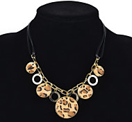 Fashion Women Leapord Fabric Covered Pendant Necklace