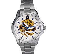 Men's Auto-Mechanical Hollow Engraving Stainless Steel Band Wrist Watch(Assorted Colors)