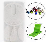 White Snow Dream Catcher Pattern TPU Soft Cover Case with Anti-dust Plug and Stand for LG G3 Mini