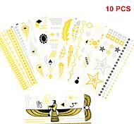 10PCS Mixed Patterns Bracelet Necklace Temporary Tattoos Sticker Gold Tattoos Flash Tattoos Party Tattoos