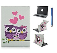 9.7 Inch 360 Degree Rotation Owl Series Pattern with Stand Case and Pen for iPad Air 2/iPad 6