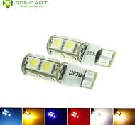 10 x T10 LED de 2 modos azul / rojo / blanco cálido / verde / amarillo / 2.5w blanco 9x5050smd 120lm para la bombilla del coche (DC12-16V)