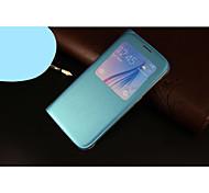 coldre de telefone inteligente capa protetora pu dormente por samsung galaxy S6 borda (Azure)
