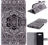 grande conception de fleur noire pu cas de stand en cuir avec fente pour carte pour Samsung Galaxy G530 g530h
