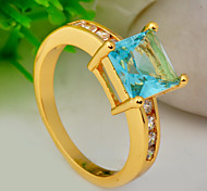 High Quality Fashion Women 10 KT Gold Water Blue Square Drill Zircon Ring