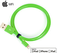 MFi Certified Lightning 8 Pin USB Sync Data / Charging Cable for iPhone 5/5S/6/6 Plus iPad air/ari2 (100cm,Green)