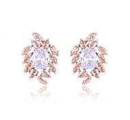 High Quality Fashion Women Leaves Zircon Earrings