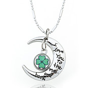 Vilam® I Love You To The Moon And Back Clover Time Gem Cabochon Zinc Alloy Silver Shining Necklace
