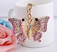 Key Chain Metal Ornament Butterflies Diamond Ring